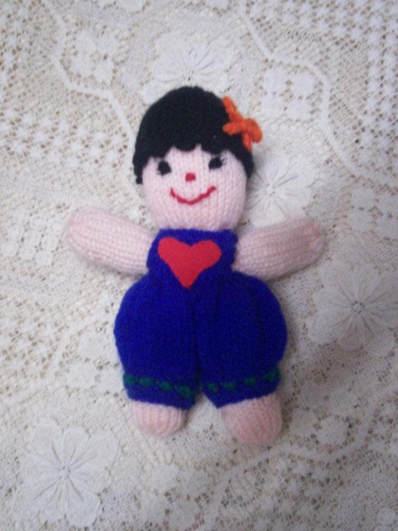 Handmade in Australia Love Heart Handmade Knitted Doll Toy