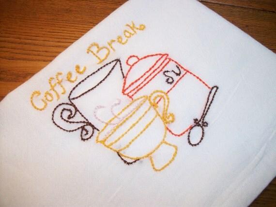 Dish Towel Java Break Design Cotton Flour Sack Tea Towel Coffee Break