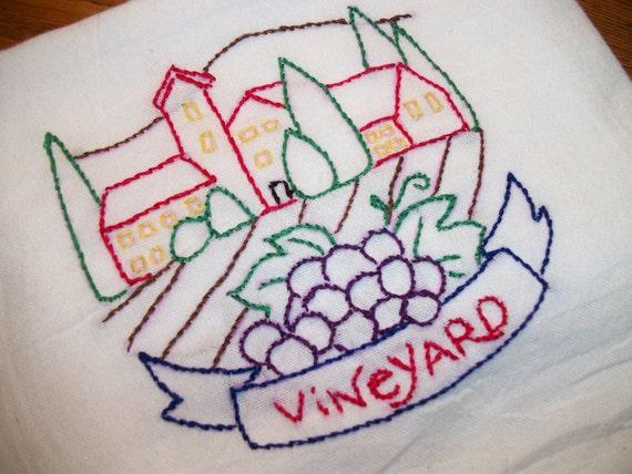 Dish Towel Wine Country Design Cotton Flour Sack Tea Towel