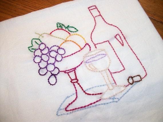White Cotton Dish Towel Wine Country Design Flour Sack Tea Towel