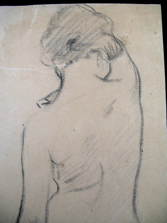 Antique 1900 EDWARDIAN Art Nouveau Original French NUDE Charcoal Drawing SIGNED