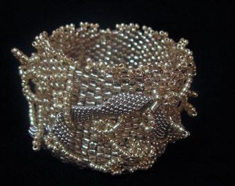 SNOW CRYSTAL beaded cuff bracelet  EBW Team