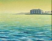 Original acrylic seascape ocean waves painting Black House Blue