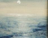 Original painting ocean sparkles beach coastal original acrylic painting winter sun evening