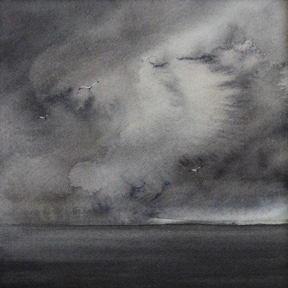 original watercolour painting summer storm ocean and cloud