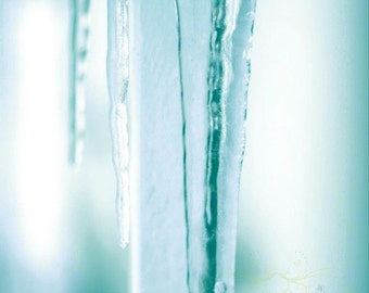 blue decor winter photography ice icicles aqua blue white / 8x10  Fine Art Photograph / Blue Ice