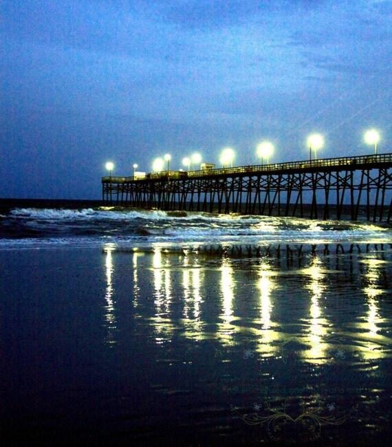 beach photography navy blue teal white brown reflection pier / Fine Art Photograph / Oak Island NC / Pier At Night