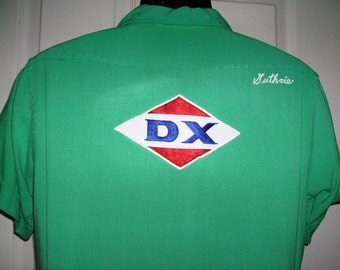 Don Carter Bowling Shirt Vintage Don Carter DX Gas Station Shirt 1960s Personalized Dell Guthrie Rockabilly Patch Gas Oil Company
