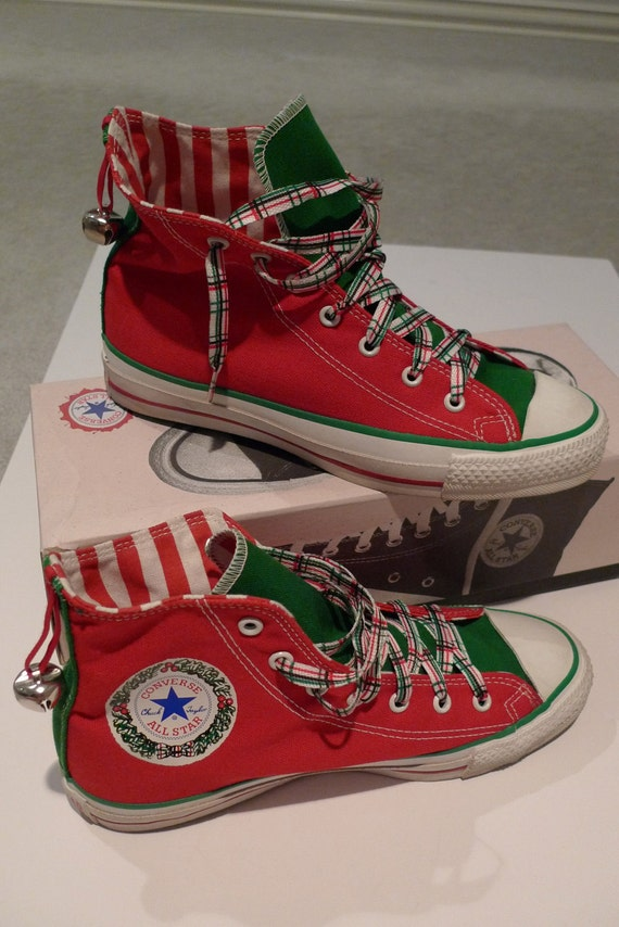 Vintage Converse Hi Top Tennis Shoes All Star Christmas Too