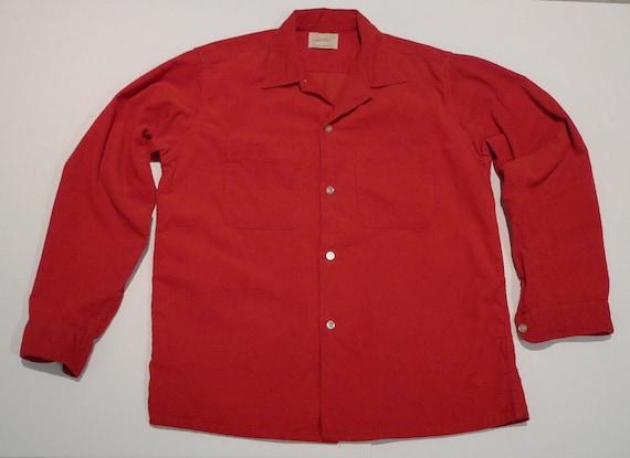 Corduroy Shirt Pennys Towncraft Red Size Medium 15 Vintage 50s 60s Wardrobe Basic Valentine Christmas FREE SHIP Long Sleeves