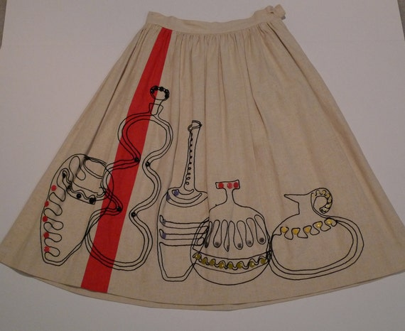 Full Skirt Embellished 50's Gathered Waist Mexico Beige Cream Vessels Pottery Ceramics Spain exotic Cotton retro swing skirt FREE SHIP