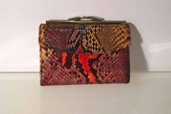 BOSCA Python Wallet Snakeskin Genuine Vintage Change Purse Rainbow Exotic Skin Reptile Tri-Fold vintage retro FREE SHIPPING