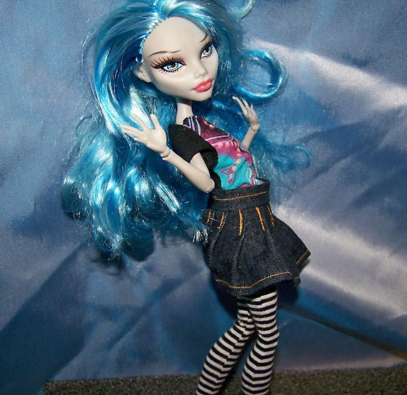Monster High doll clothes - dark denim pleated skirt with gold accents