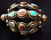 Tibetan Brass inlay  focal Bead
