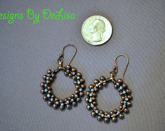 Antiqued Copper and Turquoise Earrings