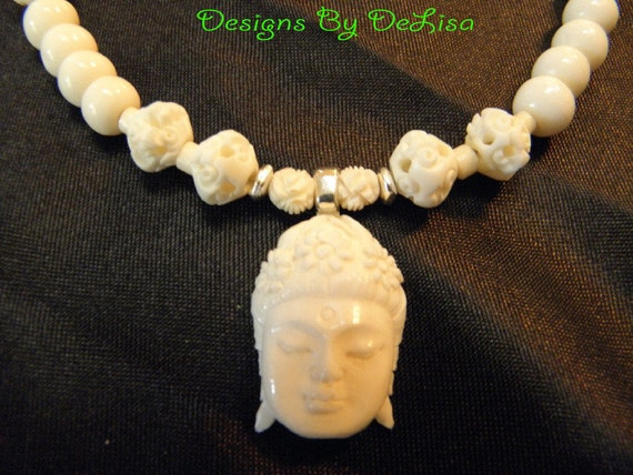 Quan Yin Hand Carved Bone Necklace and Earrings
