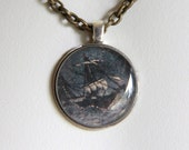 Upcycled watch back pendant - Stormy Seas