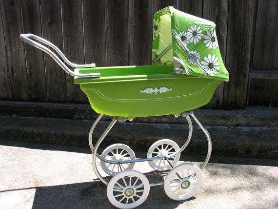 Vintage Early 1970s Doll Stroller Avocado Green