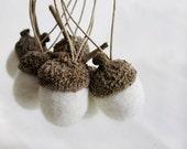 snow white  felted acorns