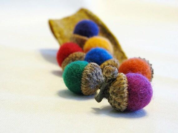 7 felted acorn my rainbow