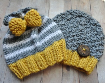 Hat, Baby, Knit Twin Newborn Beanies in Mustard Yellow, White, and Grey with Pretty Bow and Handmade Wood Button Shabby Chic Photo Prop