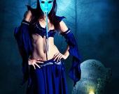 Sapphire colors, OOAK, Blue Goddess, Horned creature, Masquerade Mask, Halloween Mask, clay horns, wearable art