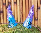 Cute, twirled and twisted, wicked adorable, handmade, wearable, clay costume horns, Halloween costume Renfaire, LARP