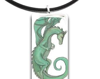 Setia, green Dragon, handmade, hand drawn, glass tile pendant, green and black, fantasy art pendant