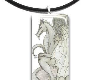 Dragon pendant, soft sage, Glass tile pendant, handmade, color choices