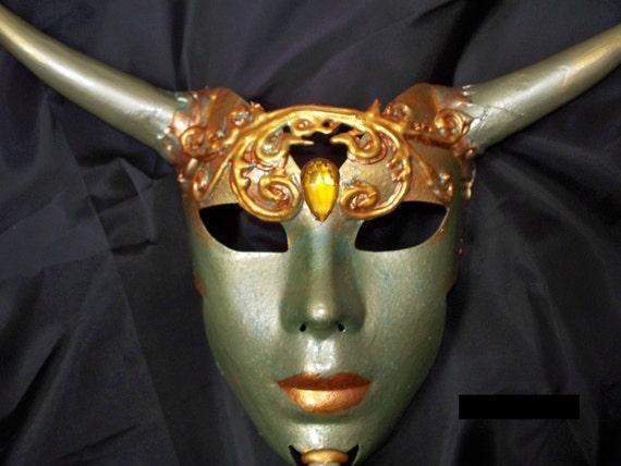 sage green and golden colors, Masquerade Mask, Halloween Mask, Handmade, ooak, horned goddess, clay horns