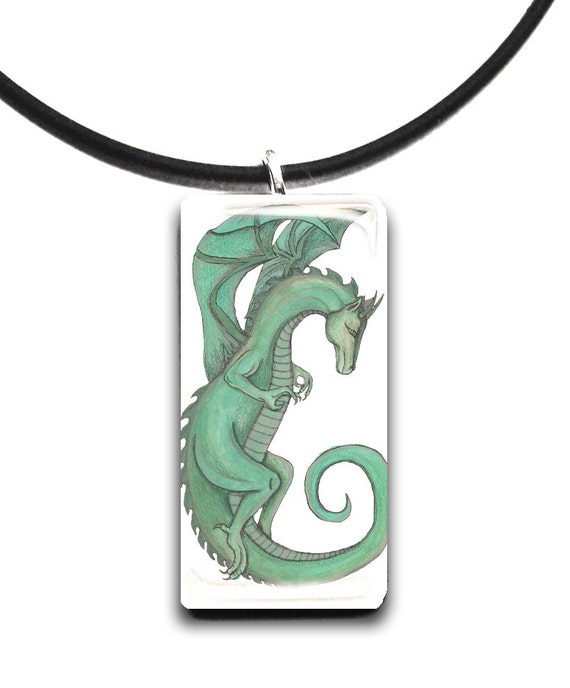 Setia, green Dragon, handmade, hand drawn, glass tile pendant, green and black, fantasy art pendant