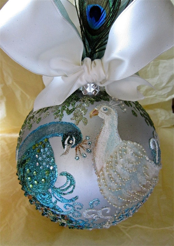 Peacocks in Love Hand Painted Ornament
