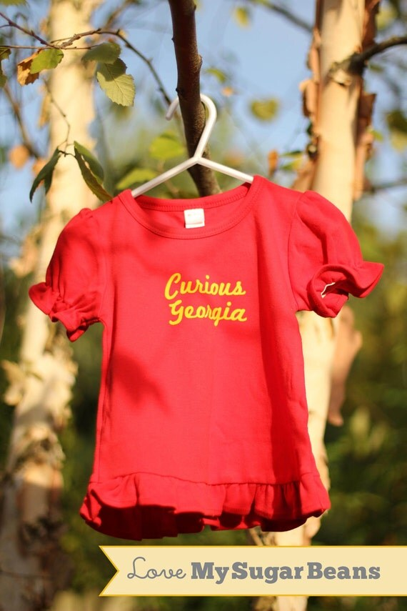 Girls Ruffle Red Curious George Personalized Kids Tshirt  2t or 4t (fuzzy letters)