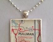 Pullman, WA  Map Pendant Necklace