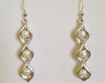 Silver and Pearl Bridal Earrings