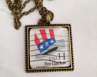 US Stamp Pendant Necklace
