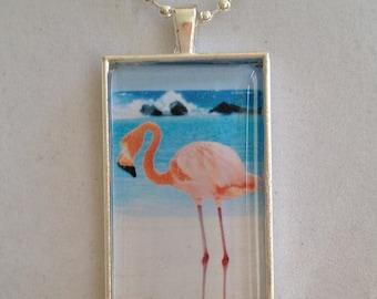 Pink Flamingo Pendant Necklace