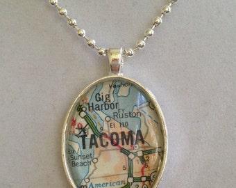 Tacoma, WA Map Pendant Necklace