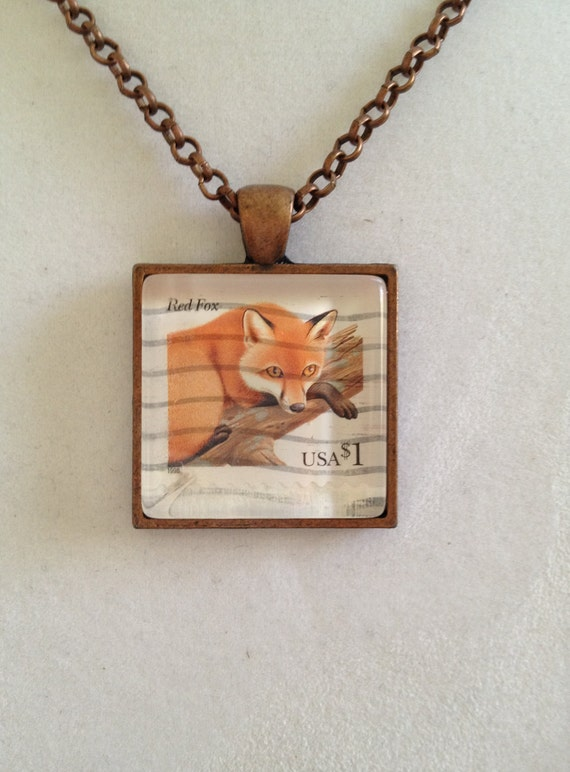 Red Fox USA Stamp Necklace
