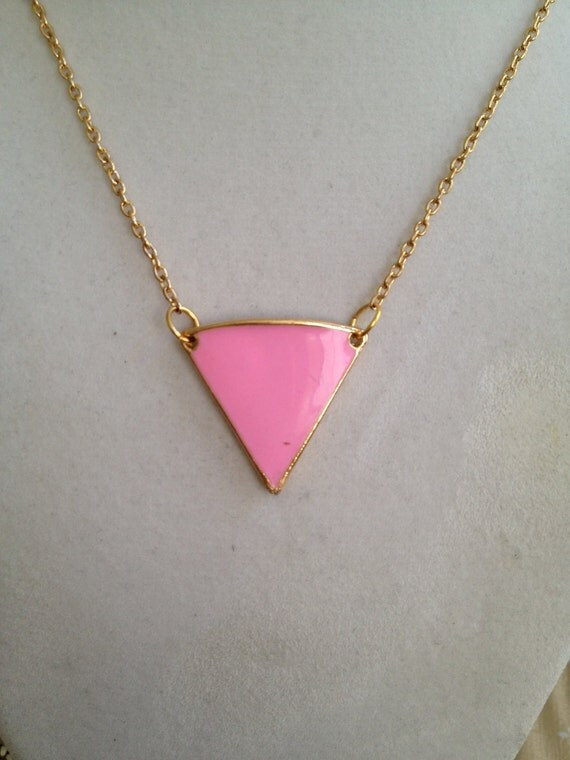 Pink Triangle Necklace