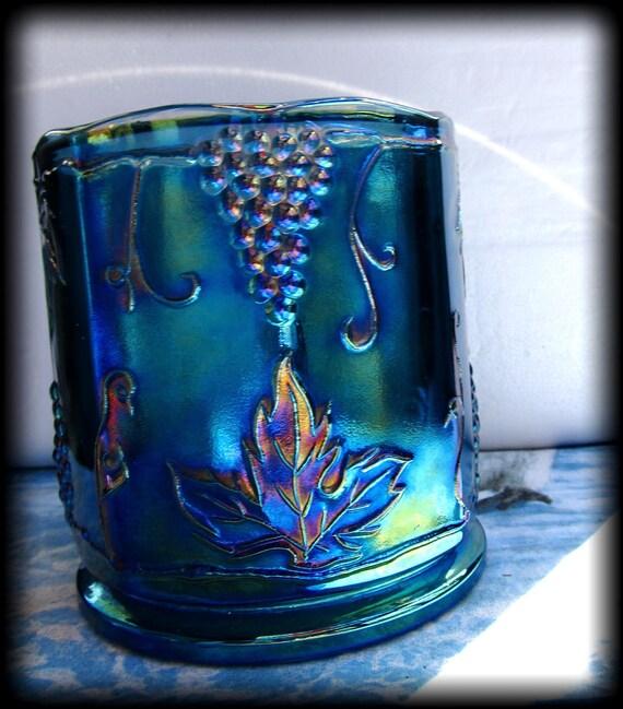 Gorgeous Purple Iris Iridescent Carnival Glass Vintage Vase