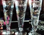 Set of 3 Tall Vintage Automotive Design Beer Glasses