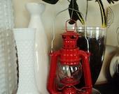 Vintage Red Kerosene Glass Hanging Lantern