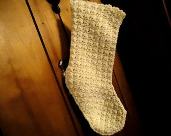 Beautiful Crocheted Full Size Christmas Stocking in Cream/Gold Sparkle Made to Order
