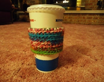 RTS- Reusable Eco Friendly Crocheted Coffee Drink Tumbler Cup Cozy Sleeve in Southwest Colors