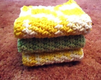 RTS- Set of 3 Cotton Dishcloths For Your Kitchen or Bath in yellow white and sage green Cleaning clean dish dishes Housewarming gift Home