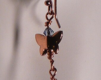 Copper Butterfly Earrings with Swarovski Crystals