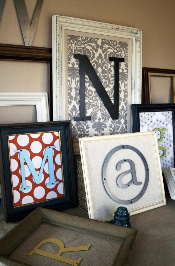 Custom Made Medium Vintage Frame With Metal Letter Of Choice w/ FREE Shipping