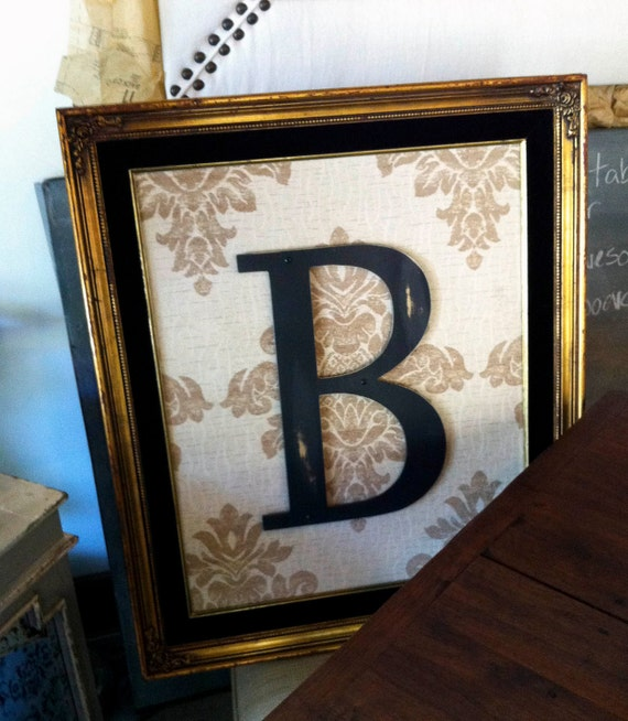 LARGE Vintage Frame with Your Choice of Fabric and Your Custom Initial w/ FREE Shipping