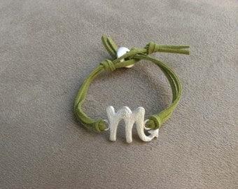 SCORPIO - Silver and Leather Zodiac Bracelet
